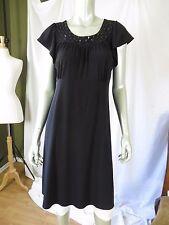 APT 9 L Polyester/Spandex Black Beaded Scoop Neck Empire Waistline Tunic Dress