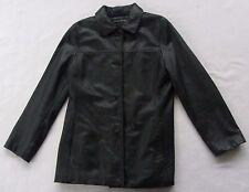 Dockers Women's Genuine Cow Leather Long Sleeve Button Down Black Jacket - M