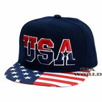 USA American Flag Hat USA Embroidered Snapback Flag Flat Bill Baseball Cap