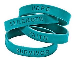 48 Teal Ribbon Rubber Bracelets Lot Ovarian Cervical Cancer Awareness Wristband