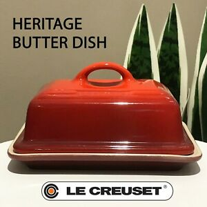 New - Le Creuset - Heritage Butter Dish Cerise Red Shiny Finish 5 x 3 1/2 IN