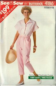 BUTTERICK PATTERN 4186 SIZES 16-18-20-22-24 MISSES' TOP, PANTS uncut
