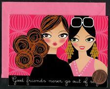 Fashionista Girls Sunglasses Earrings Hairdo - Small Blank Greeting Note Card