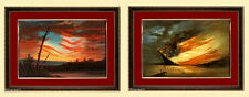 Civil War Art Confederate & Union Flag Paintings Framed Set