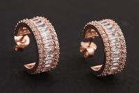 Elit Turkish Jewelry Baguette Topaz Rose Gold 925 Sterling Silver Hoop Earrings