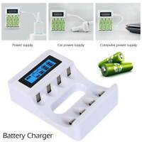 USB 4 Slots Smart Battery Charger LCD Display for AA/AAA NiCd NiMh Rechargeable