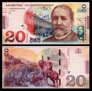 Georgia 20 Lari 2016 Prefix AA (UNC) 全新 格鲁吉亚 20拉里纸币 AA 44857547