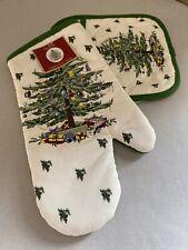 "Spode ""Christmas Tree"" 2 Pc Pot Holder/Oven Mitt Set Nwt"
