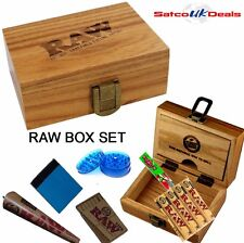 RAW Gift Wooden Smoking Clip Storage Rolling Box Set Roach Papers Tips Grinder
