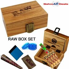 RAW Wooden Smoking Clip Storage Rolling Box Set Roach Papers Tips Grinder Gift