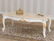 Tavolino da salotto Arald stile Barocco Decape avorio e foglia oro marmo crema
