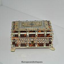 Antique Confectioner's Jewelry Souvenir Cigarette BOX Rosewood Shell 1800s
