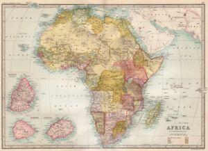 AFRICA.many unresolved borders.S Kenya=British East Africa Co Territory 1890 map