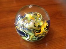 Mdina Art Glass Paperweight Multicolour Signed Dated w Label