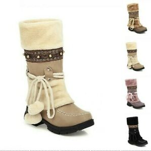 Women Fuzzy Mid Calf Boots Fashion Creepers Heel Winter Warm Snow Boots Casual