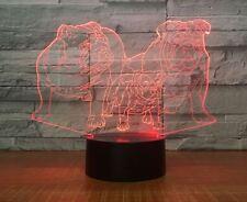 Night Light Acrylic Lamp LED Dogs Bulldog Deco Weihnachten Geschenk