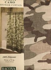 Bacova Forest Camo Fabric Shower Curtain Camouflage Cabin Rustic Hunting Tan