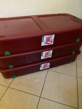 Set of 3 Sterilite Easy Open Under Bed Storage W/ Wheels, Red & Green