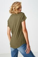 Cotton On Womens The Deep V S/S Tops  In  Green