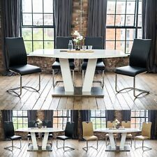 Lyra High Gloss Extendable Dining Table Set with a Choice of 4 or 6 Chairs