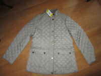 Lucky Brand Womens Quilted Lined Insulated Barn Jacket Coat Zips Snaps Taupe M