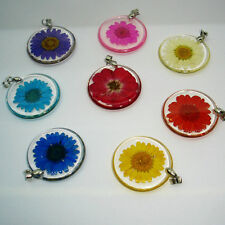 Women Girls Boho Transparent Resin Real Dry Flower Pendant Necklace Jewelry Chic