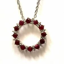 """925 sterling silver ruby white topaz pendant necklace 2.9g 18"""""""