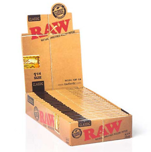 😎 🍃 24 RAW NATURAL UNREFINED VEGAN ORGANIC ROLLING PAPERS 1 1/4 SIZE SEALED