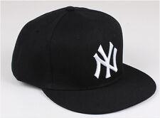 RARE Unisex Mens Womens Baseball Bboy Cap NY Snapback Sport Hip-Hop Hat Black