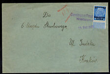 1939 Krakow Poland Germany GG Registered Cover to Local Tax Office Deutsche Post