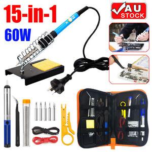 15IN1 Soldering Iron Kit 60W Electric Welding Tool Adjustable Temperature AUplug