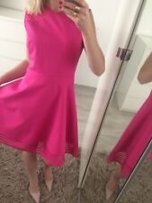 🌸 New Ted Baker Size 2 Uk10 M Stretch Dress Flare Skater Laser Cut Pink Pleated