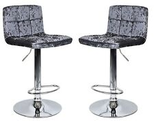 2 x Grey Crushed Velvet Bar Stools Kitchen Stool Breakfast Chair Chrome Lounge