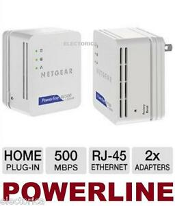 2 X HOMEPLUG NETGEAR 500 Mbps POWERLINE ADAPTER NANO ETHERNET KIT PS4 IPTV wifi