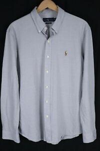 Ralph Lauren Mens Sz XL White Light Blue Knit Oxford Long Sleeve Button up Shirt