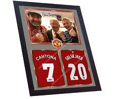 Ole Gunnar Solskjaer Alex Ferguson Eric Cantona signed autographed print FRAMED