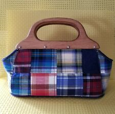 Plaid Patchwork Bag Wood Handle Purse Small Baguette Handbag by Bueno