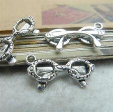 20x Charms Glasses Pendant Beads Jewellery Crafts Retro Tibetan Silver /S95