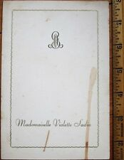 Menu: French 1945 w/Monogram - Filets de Sole a la Duglere