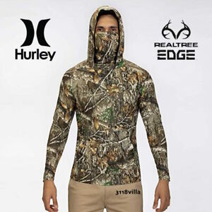 Hurley Realtree UPF 50+ Quick Dry Camo Hooded Long Sleeve Top Men's size M L