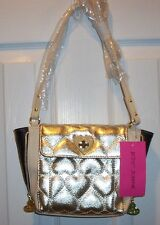 NWT BETSEY JOHNSON  SIDE ZIP CROSSBODY  *BE MINE GOLD* PUFFY HEART DESIGN
