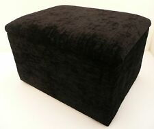 FOOTSTOOL / POUFFE WITH STORAGE BLACK CHENILLE FABRIC