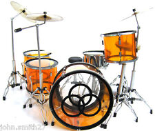 Miniature Drums Set John Bonham Led Zeppelin Orange Clear RARE !