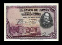 SPAIN 1928 50 PESETAS ☆ P-75A  ☆ AU ☆ LOW SERIAL # ☆ SCARCE