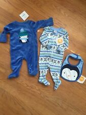 Gymboree Baby Boy 0-3m Layettes &Matching Bib Outfits Snowman Theme NEW