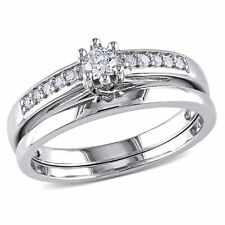 Amour Sterling Silver Diamond Bridal Ring Set