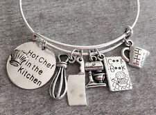 Hot Chef in the Kitchen Expandable Bangle Bracelet Silver Cooking Charm Pendants