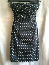 H&M polka dots fully lined bandeau pencil dress UK 6 EUR 32 runs very small