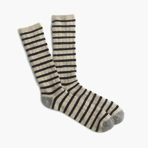 J.Crew Italian Cashmere Socks | Beige Navy Stripe