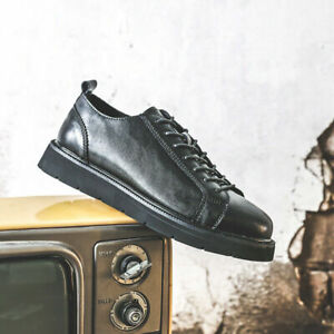Mens Comfy Faux Leather Lace Up Flats Business Casual Round Toe Sports Shoes